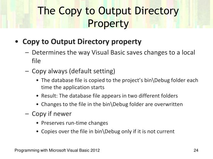 The Copy to Output Directory Property