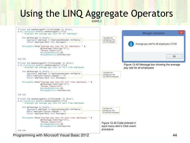 Using the LINQ Aggregate Operators