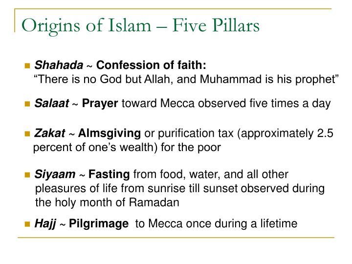 Origins of Islam – Five Pillars