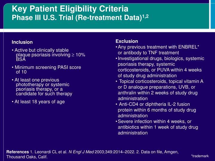 Key Patient Eligibility Criteria