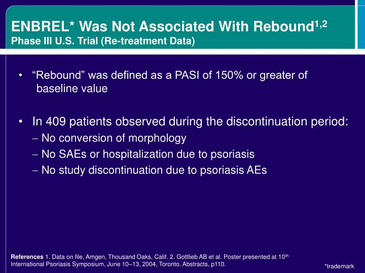 ENBREL* Was Not Associated With Rebound