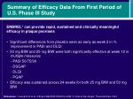 summary of efficacy data from first period of u s phase iii study