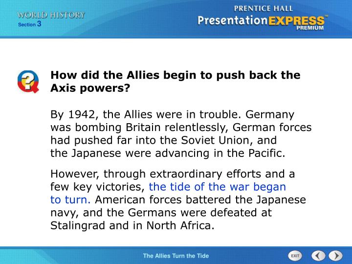 How did the Allies begin to push back the Axis powers?