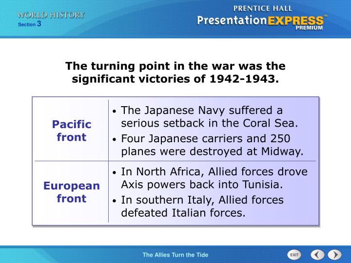 The turning point in the war was the significant victories of 1942-1943.