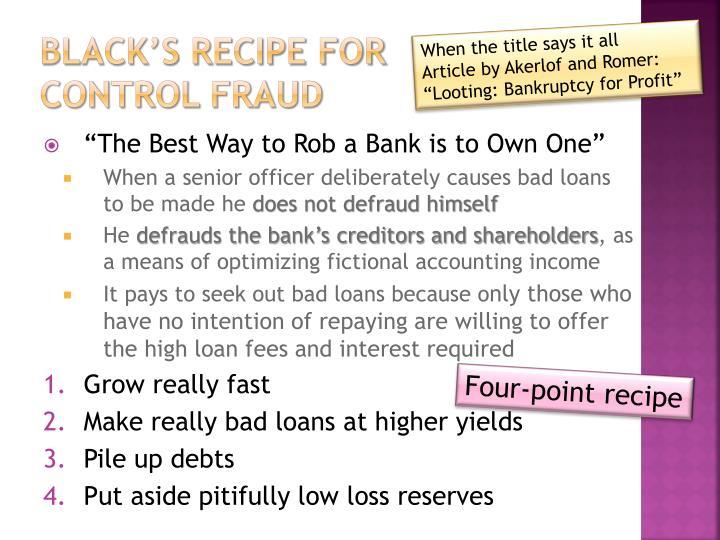 Black's Recipe for