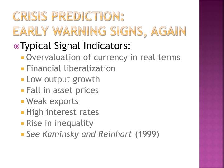 Crisis prediction: