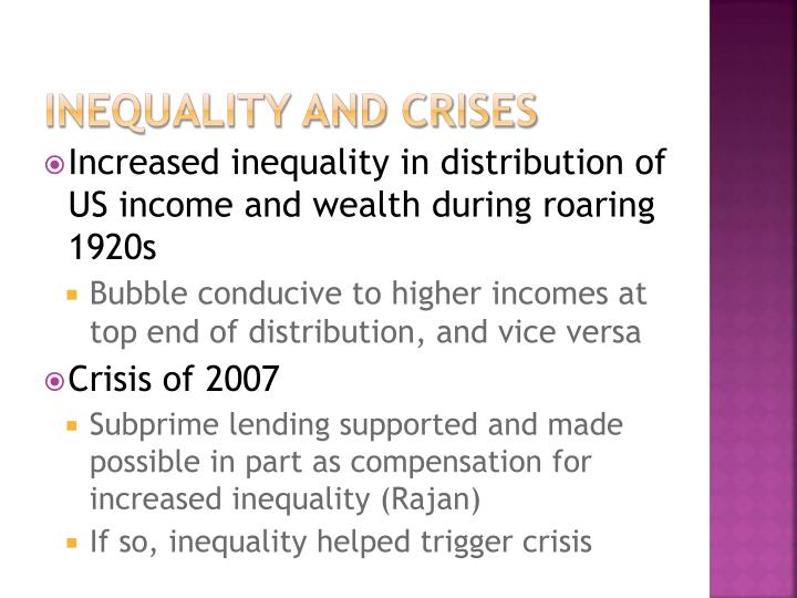 Inequality and crises