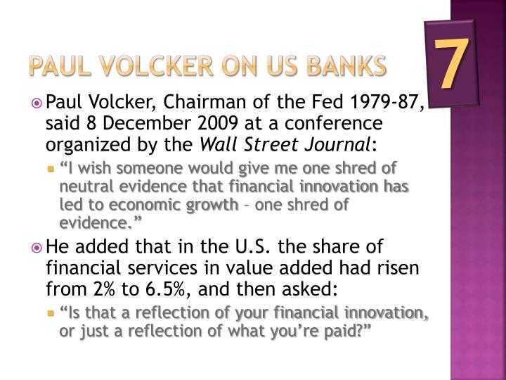Paul Volcker on us banks