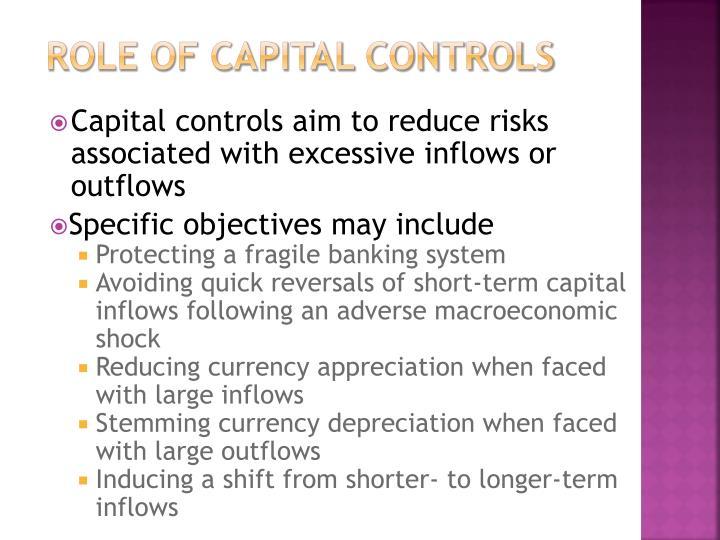 Role of capital controls