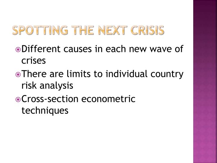 Spotting the next crisis