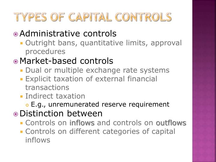 Types of Capital Controls