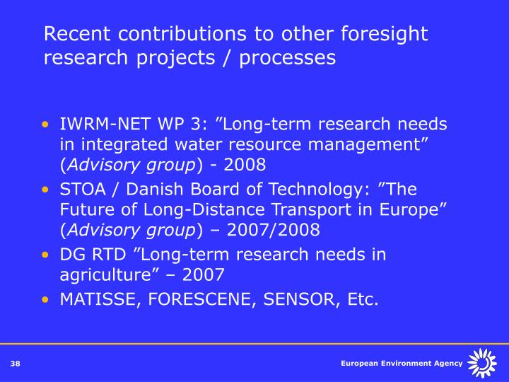 Recent contributions to other foresight research projects / processes