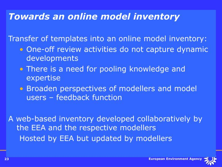 Towards an online model inventory