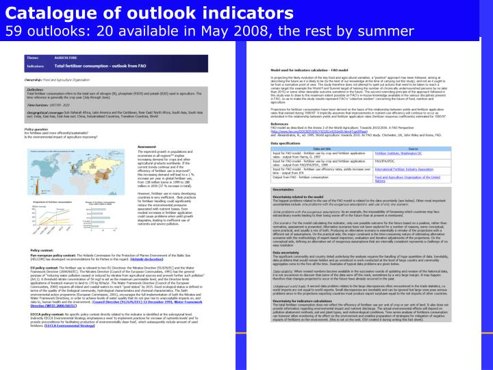 Catalogue of outlook indicators