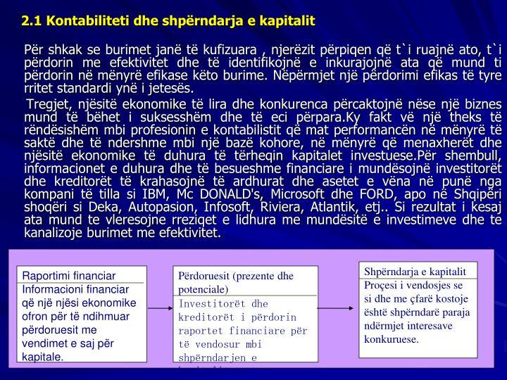 2.1 Kontabiliteti dhe shprndarja e kapitalit