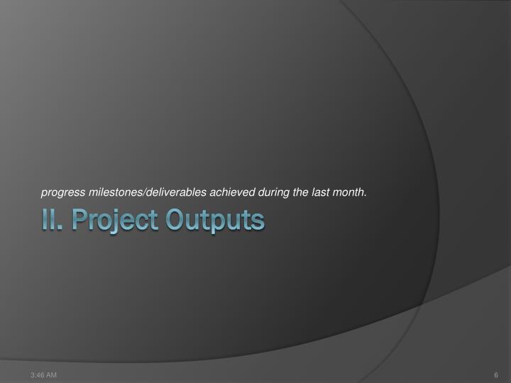 progress milestones/deliverables achieved during the last month.