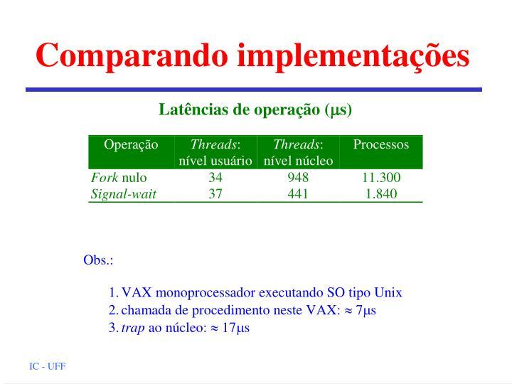 Comparando implementações