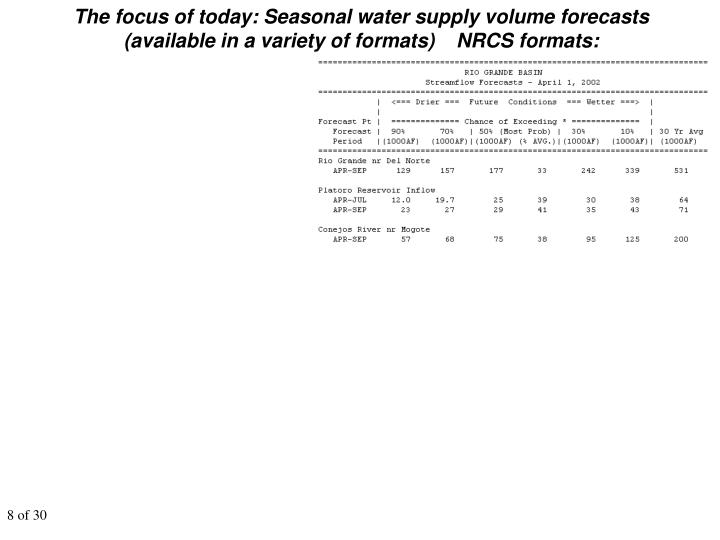 The focus of today: Seasonal water supply volume forecasts