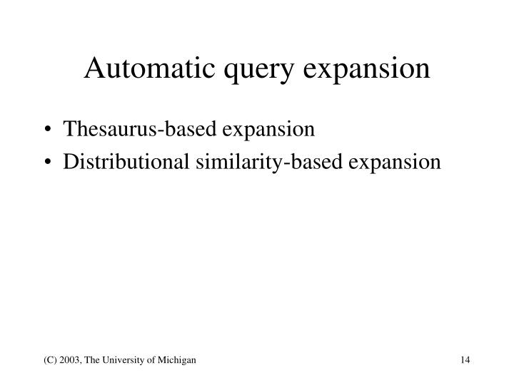 Automatic query expansion