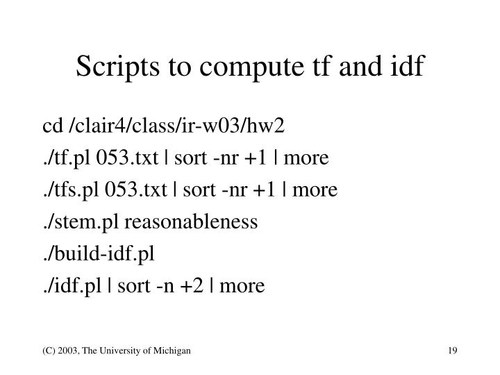 Scripts to compute tf and idf