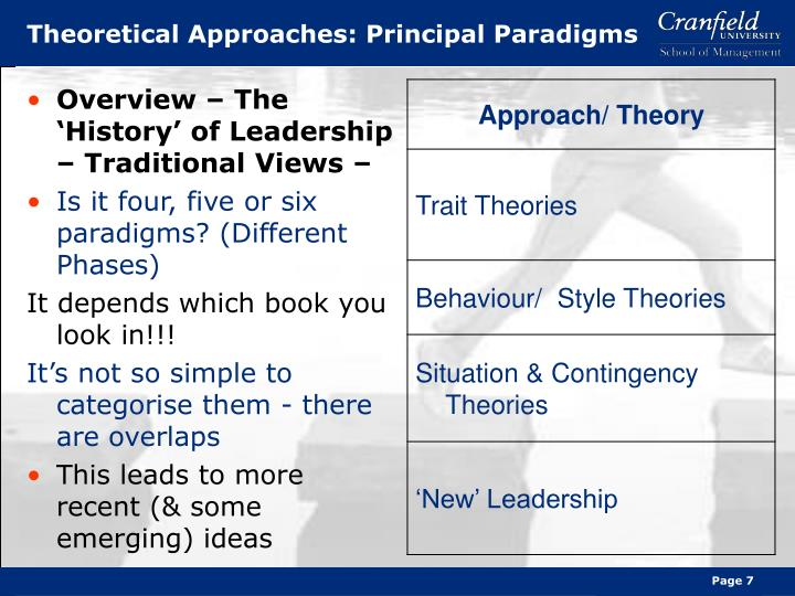 the five different paradigms of leadership For decades leadership theories have been the source of numerous studies in reality as well as in practice, many have tried to define what detaches authentic leaders from the mass.