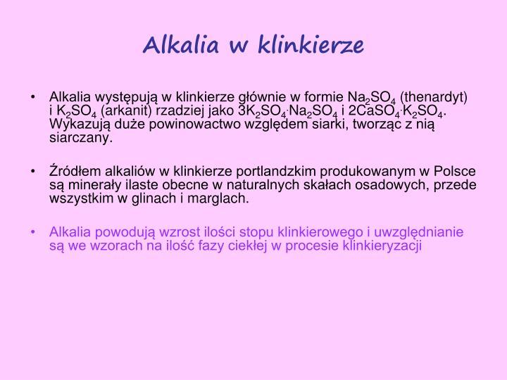 Alkalia w klinkierze