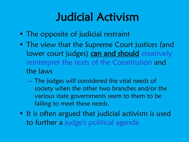 an introduction to the comparison of judicial activism and judicial restraint Judicial activism and judicial restraint comparison compare contrast tribunals functions within the judicial system - introduction a tribunal is.