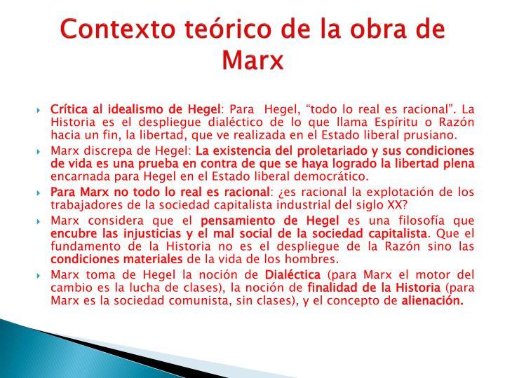 Contexto teórico de la obra de Marx