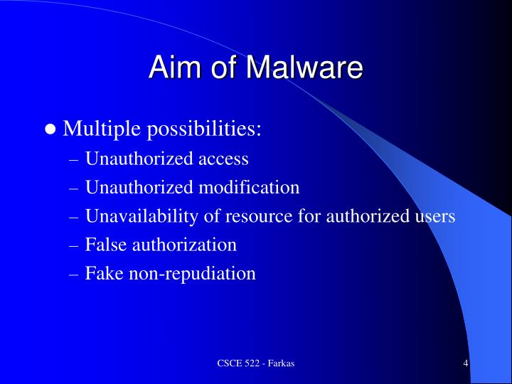 Aim of Malware