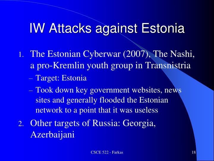 IW Attacks against Estonia