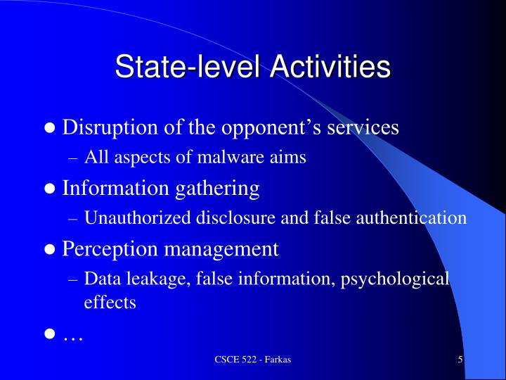 State-level Activities