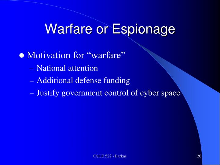 Warfare or Espionage