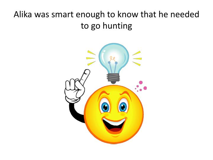 Alika was smart enough to know that he needed to go hunting