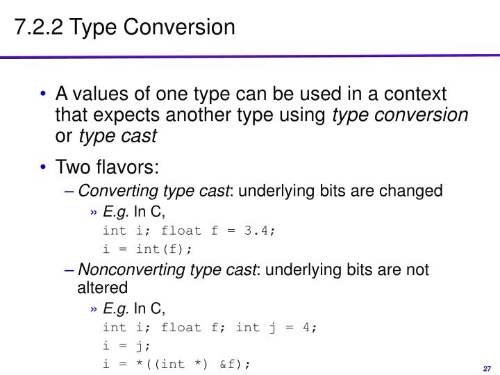 7.2.2 Type Conversion