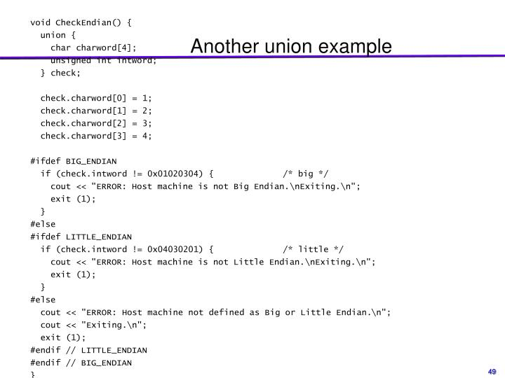 Another union example