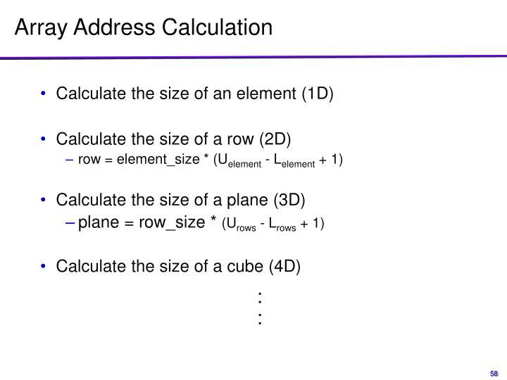 Array Address Calculation