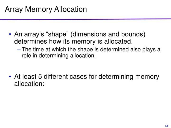 Array Memory Allocation
