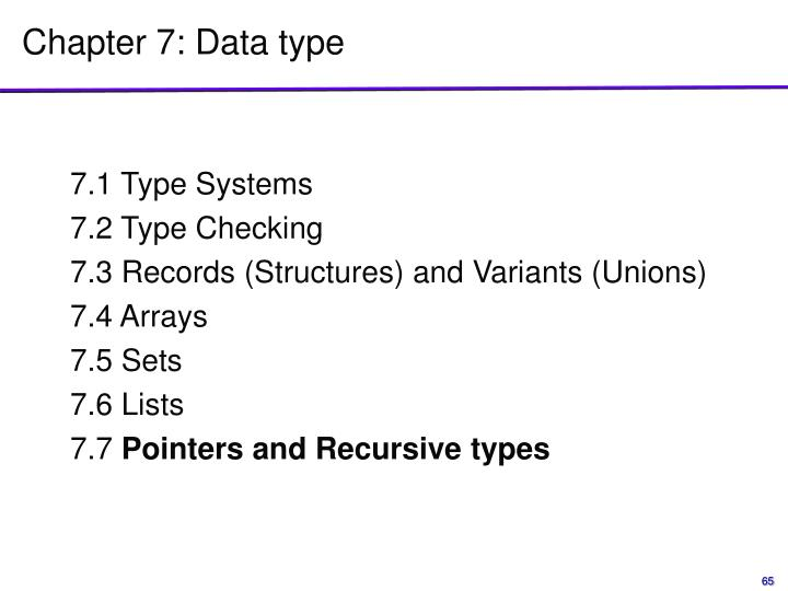 Chapter 7: Data type