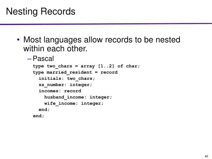 Nesting Records
