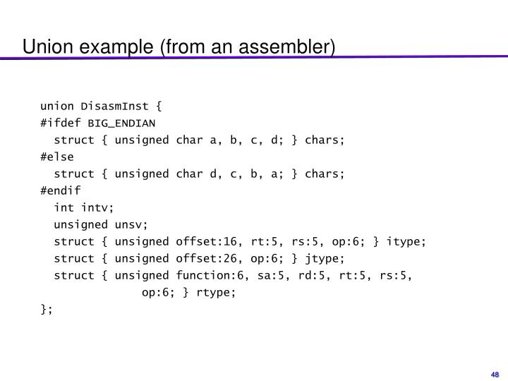 Union example (from an assembler)