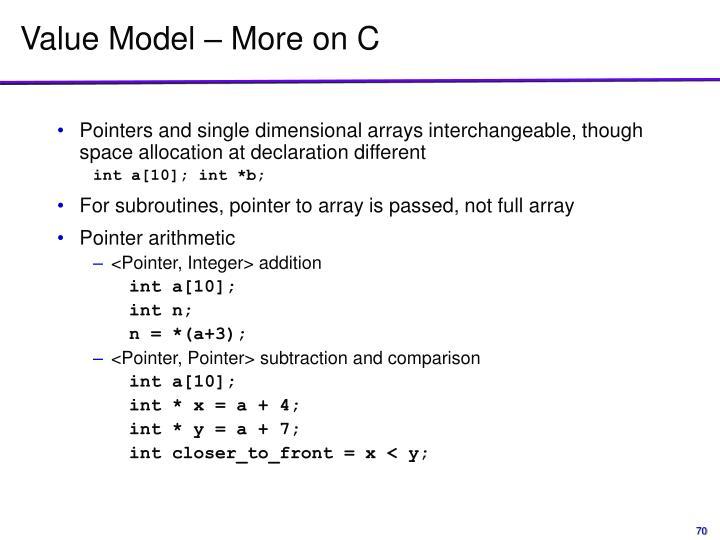 Value Model – More on C