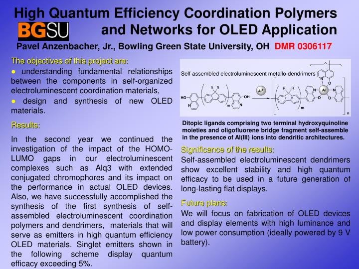 High Quantum Efficiency Coordination Polymers