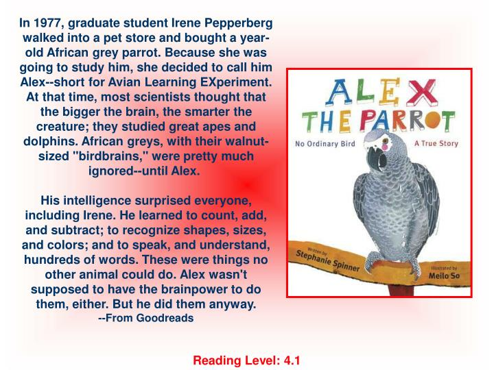 "In 1977, graduate student Irene Pepperberg walked into a pet store and bought a year-old African grey parrot. Because she was going to study him, she decided to call him Alex--short for Avian Learning EXperiment. At that time, most scientists thought that the bigger the brain, the smarter the creature; they studied great apes and dolphins. African greys, with their walnut-sized ""birdbrains,"" were pretty much ignored--until Alex."
