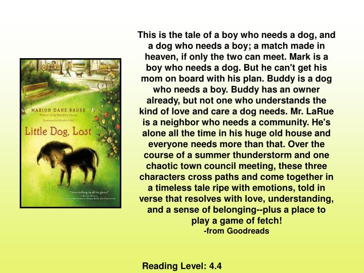 This is the tale of a boy who needs a dog, and a dog who needs a boy; a match made in heaven, if only the two can meet. Mark is a boy who needs a dog. But he can't get his mom on board with his plan. Buddy is a dog who needs a boy. Buddy has an owner already, but not one who understands the kind of love and care a dog needs. Mr. LaRue is a neighbor who needs a community. He's alone all the time in his huge old house and everyone needs more than that. Over the course of a summer thunderstorm and one chaotic town council meeting, these three characters cross paths and come together in a timeless tale ripe with emotions, told in verse that resolves with love, understanding, and a sense of belonging--plus a place to play a game of fetch!