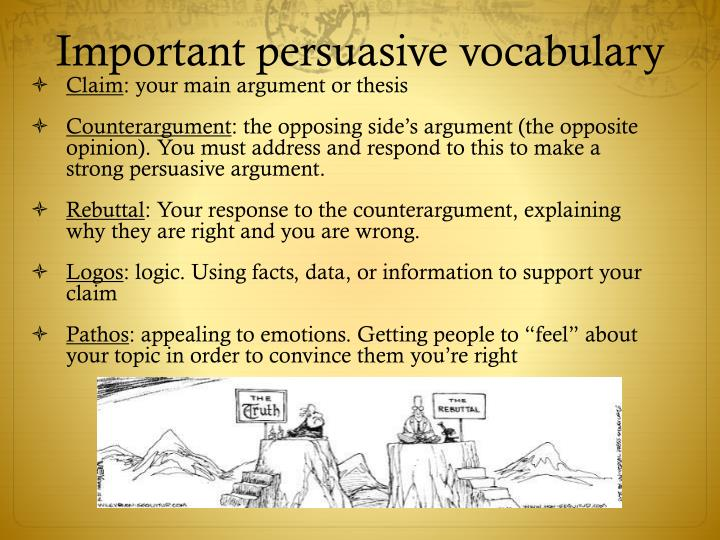 Important persuasive vocabulary