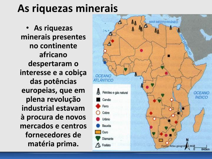 As riquezas minerais presentes no continente africano despertaram o interesse e a cobiça das potências europeias, que em plena revolução industrial estavam à procura de novos mercados e centros fornecedores de matéria prima.