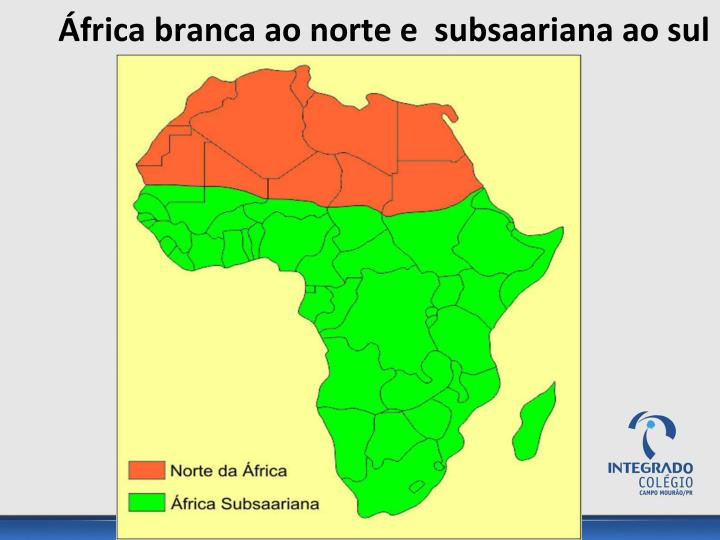 África branca ao norte e  subsaariana ao sul