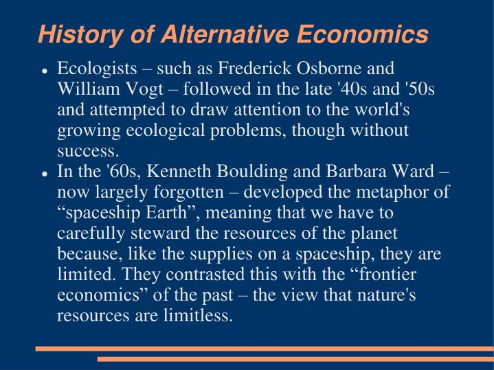 History of Alternative Economics