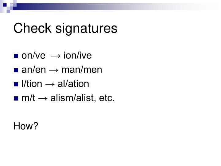 Check signatures