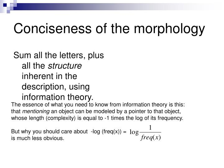 Conciseness of the morphology